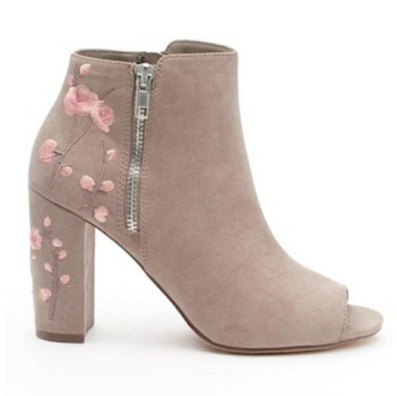 9e383d0b0ba Candie s Taupe Zip Up Peep Toe Ankle Boots